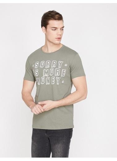 Koton Yazili Baskili T-Shirt Haki